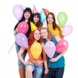 Happy girls with balloons — Stock Photo