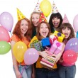Happy girls with boxes and balloons — Stock Photo