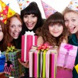 Happy girls with gift boxes — Stock Photo #5157894
