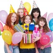 Happy women with gifts and balloons — Stock Photo