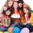 Happy women with gifts and cake — Stock Photo