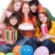 Stock Photo: Happy women with gifts and cake