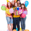 Joyful women with gifts and balloons - Stock Photo