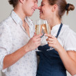 Beautiful smiley couple with champagne — Stock Photo #5158001