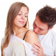 Boy kissing his girl in shoulder — Stock Photo #5158007