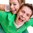 Cheerful bright couple — Stock Photo