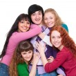 Lively picture of one man and four girls — Stock Photo #5158235