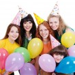 Pretty girls with balloons — Stock Photo