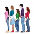 Young man and women in queue — Stock Photo #5158258