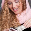 Happy woman with purse and cash - Foto Stock