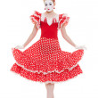 Stock Photo: Beautiful mime in red dress