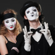 Portrait of retro mimes — Stock Photo