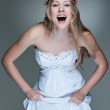 Cheerful model in white dress — Stock Photo #5159080