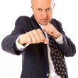 Businessman want to fight with his competitor — Stock Photo