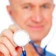 Close-up portrait of doctor with stethoscope — Stock Photo