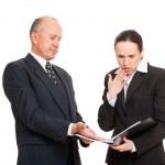 Businesswoman taken mistake in report — Stock Photo