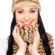 Laughing young woman in hat and scarf — Stock Photo #5159674