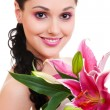 Lovely woman with bunch of flowers — Stock Photo #5159675