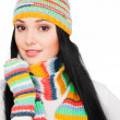 Woman in striped hat and scarf — Stock Photo