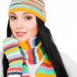 Woman in striped hat and scarf — Stock Photo #5159778