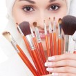 Woman with brushes for make-up - 图库照片