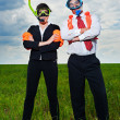 Business in scuba mask and flippers — Stock Photo