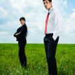 Stock Photo: Serious businesspeople standing on meadow