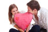 Couple gai avec coeur rose — Photo