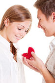 Smiley couple with ring — Stock Photo