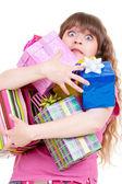 Ohromen dívka s dárky — Stock fotografie