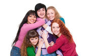 Lively picture of one man and four girls — Stock Photo