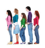 Young man and women in queue — Stock Photo