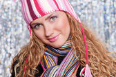 Portrait of beautiful blond in hat and scarf — Stock Photo