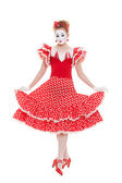 Beautiful mime in red dress — Stock Photo