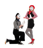 Portrait of mimes. couple in love. — Stock Photo