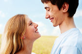 Profile portrait of happy couple — Stock Photo