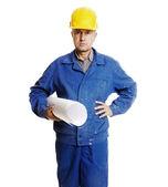 Travailleur sérieux avec les bleus — Photo