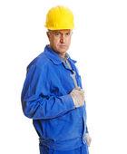 Serious worker with screw key — Foto de Stock