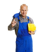 Smiley worker after hard workday — Stock Photo