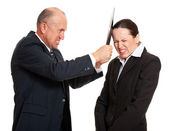 Strict chief and young worker — Stock Photo