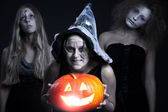 Halloween personages over dark background — Stock Photo