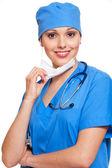 在蓝色制服护士 — 图库照片