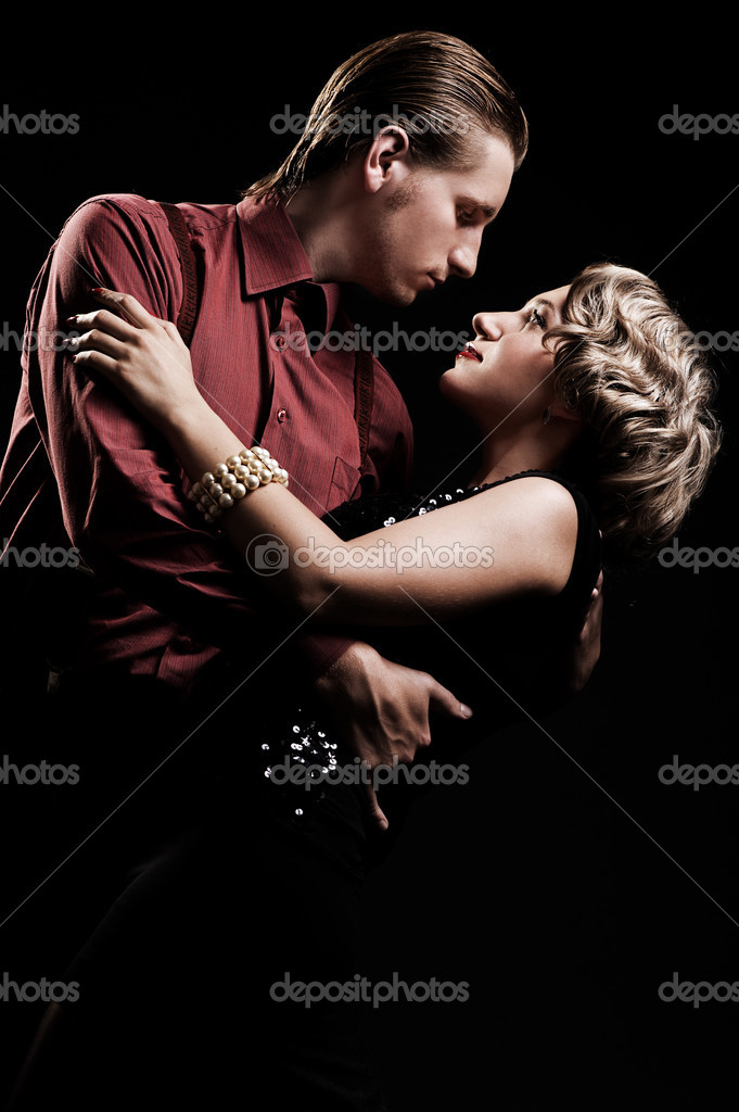 Beautiful couple in retro style is dancing — Stock Photo #5157332