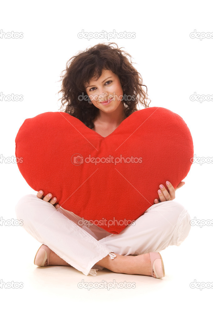 Beautiful curly with big red heart. isolated — Stok fotoğraf #5157421