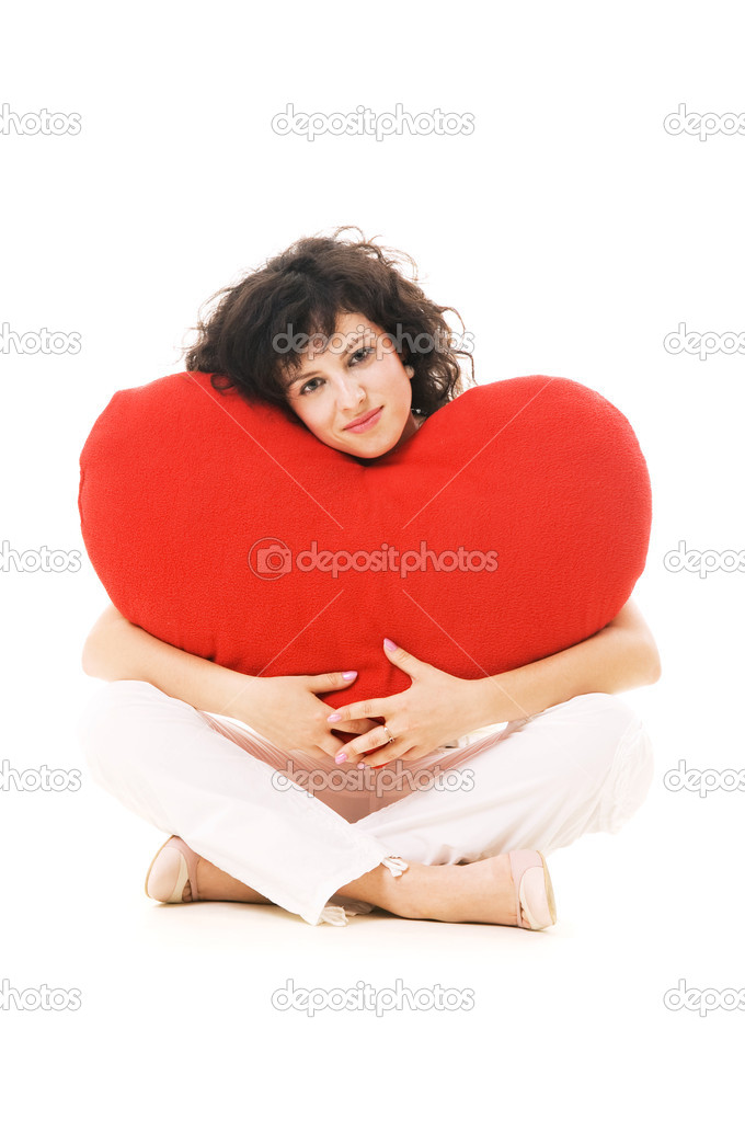 Portrait of beautiful woman with big heart. isolated on white — Stock Photo #5157442