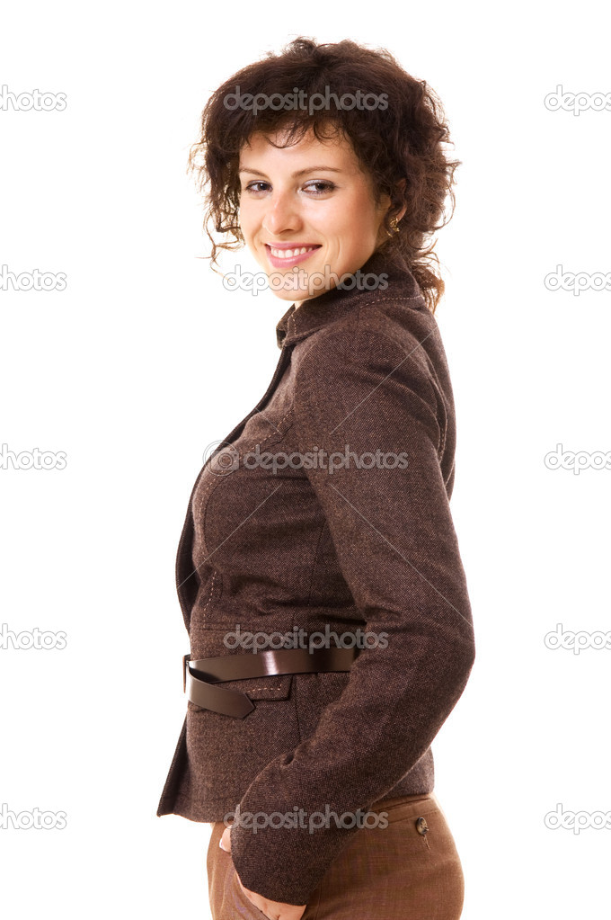 Smiley businesswoman in brown jacket. isolated on white — Stock Photo #5157448