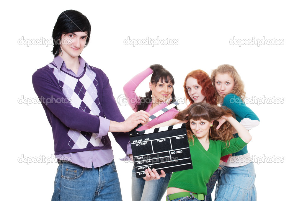 Man with clapboard over women. isolated on white background — Stock Photo #5158237