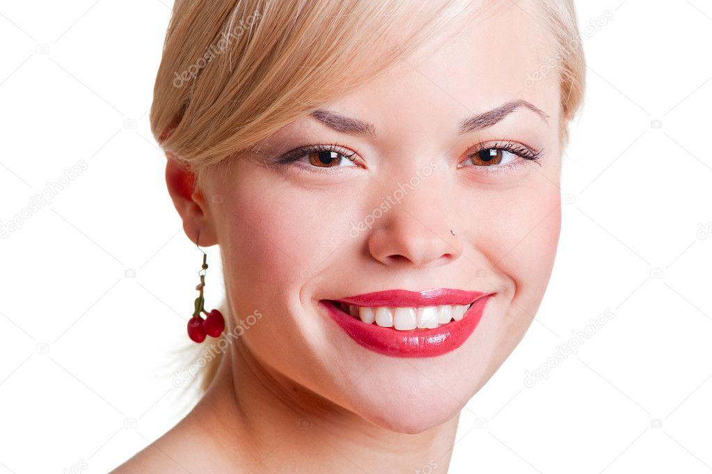 女生笑脸插画图片