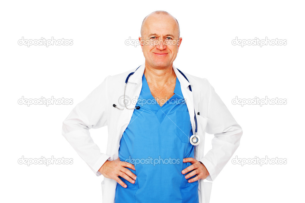 Portrait of happy smiley medical doctor over white background  Stock Photo #5159316