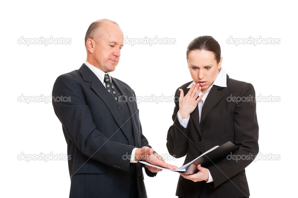 Portrait of business . woman taken mistake in report. isolated on white background  Stock Photo #5159404